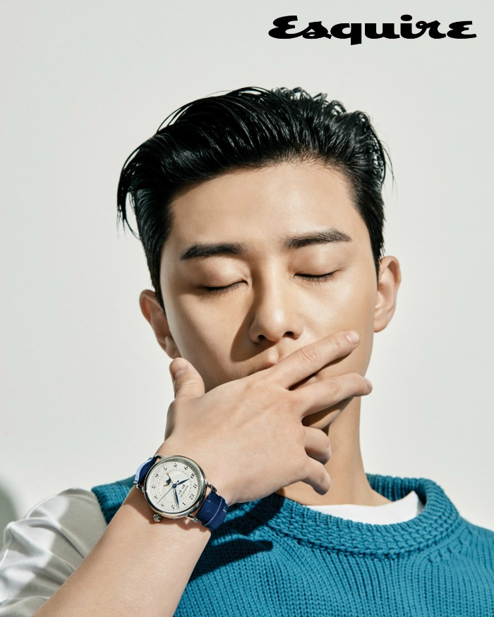 Park Seo-joon covering his mouth