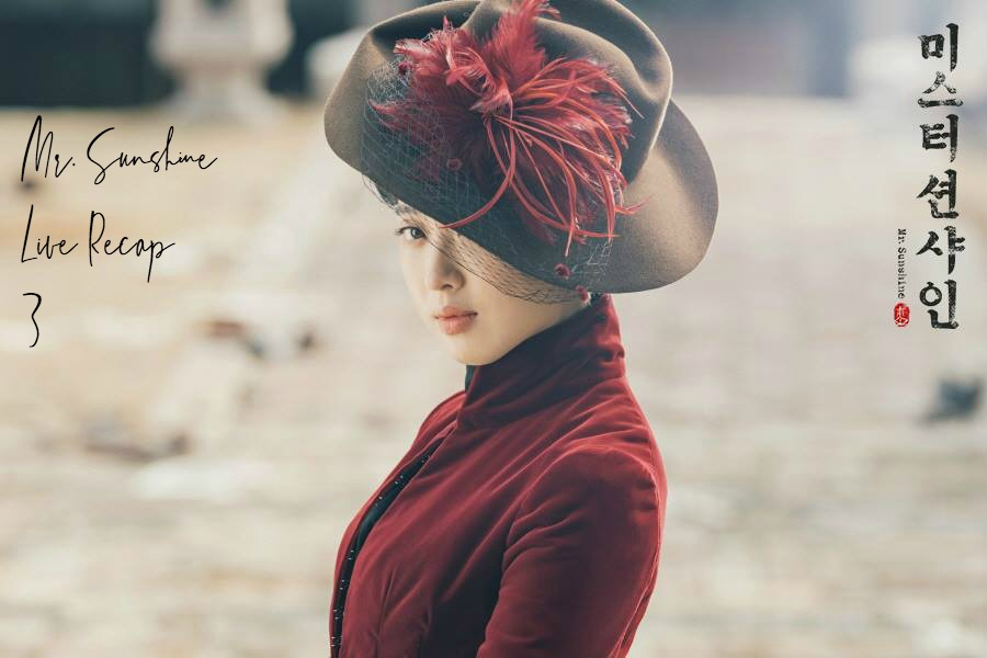 Kim Min Jung searing a brimmed hat with a red flower and a red dress in Kdrama Mr. Sunshine
