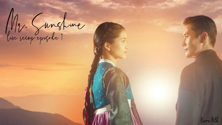 A woman in traditional Korean clothing is looking at a man in modern clothing amidst a sunrise or sunset in Kdrama Mr. Sunshine