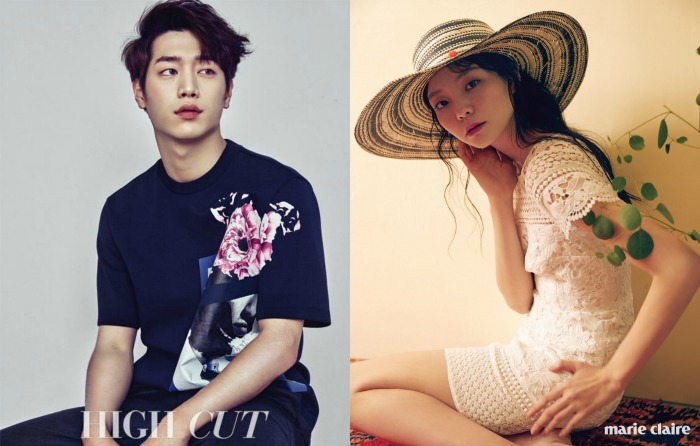 Seo Kang Joon wearing blue and Esom wearing a summer hat and off white dress in two separate pictorials