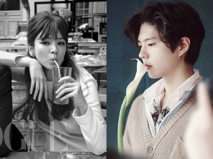 Song Hye-kyo drinking a drink and Park Bo-gum smelling a flower