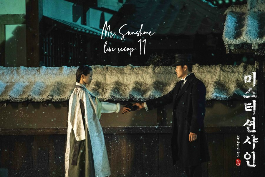 A woman in a hangbok and a man in western attire in the turn of the 20th century Korea for Korean Drama Mr. Sunshine
