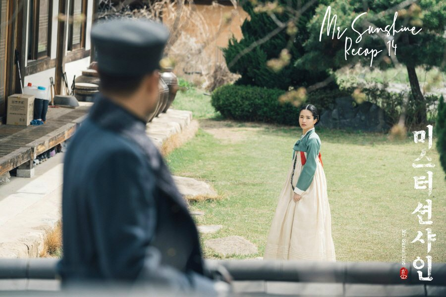 A woman in a hanbok and a man on horseback look at each other in Korean drama Mrs. Sunshine