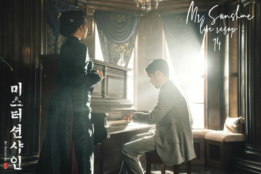 A man playing the piano and a woman listening in 1900s Korea in Mr Sunshine Kdrama