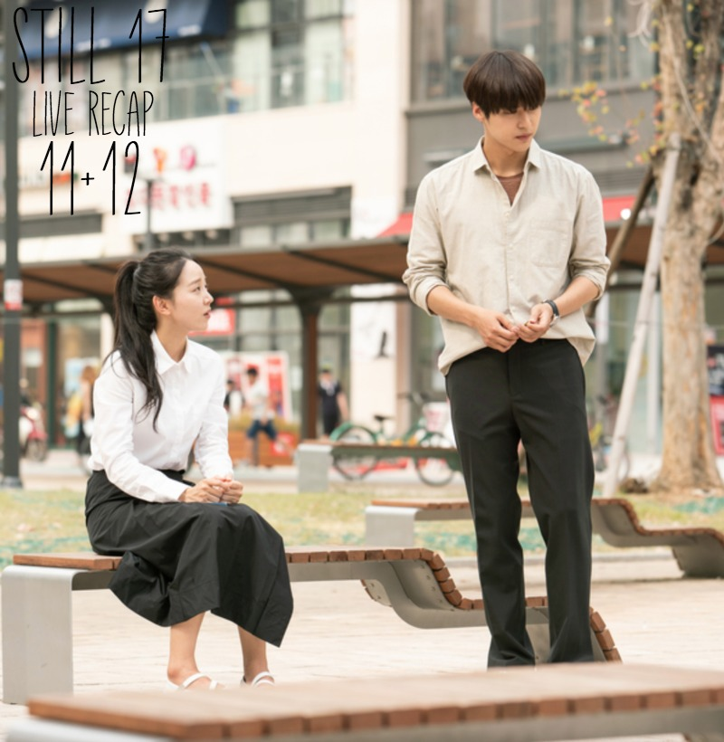 A man and woman at a city park in Korean drama Still 17