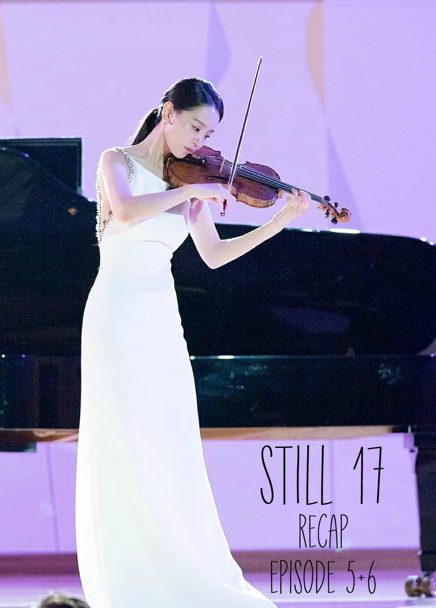 A woman plays the violin with a purple background