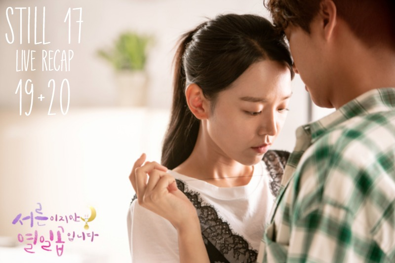 A Woman fixing a button on a man in Still 17 Korean Drama