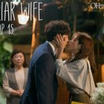 Two main characters kissing in Familiar Wife Korean drama