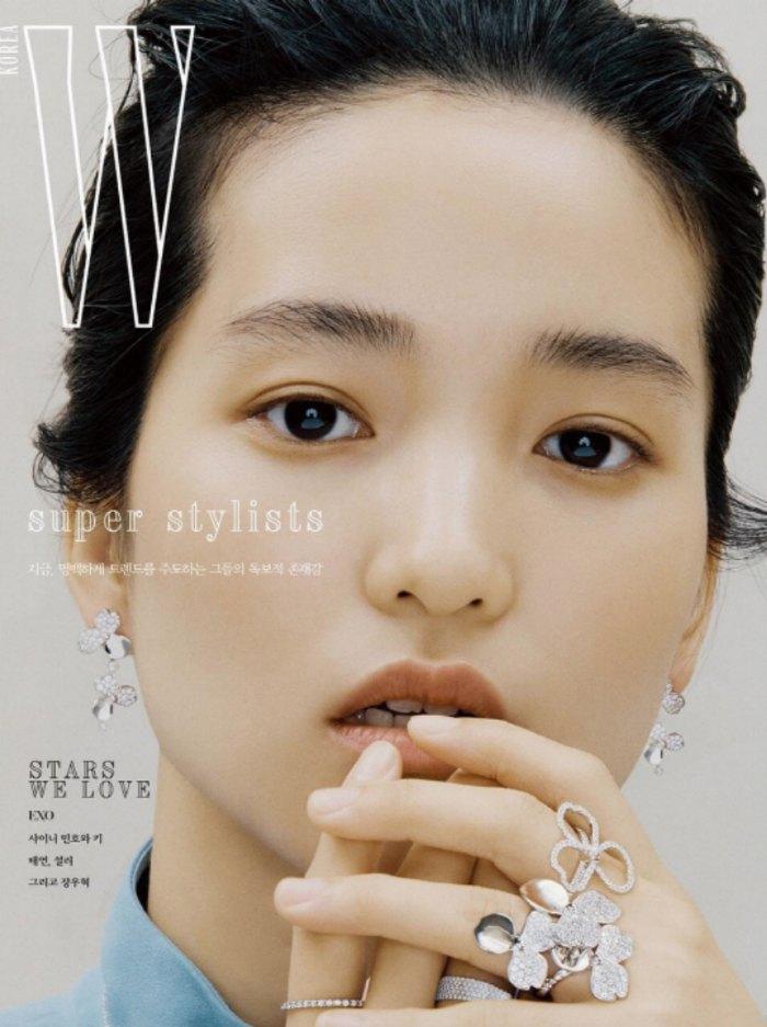 Kim Tae Ri W Korea magazine cover dripping in Tiffany and Co diamonds