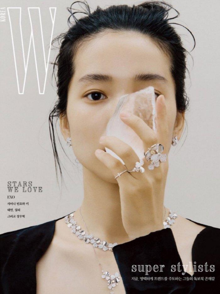Kim Tae Ri W Korea magazine cover dripping in Tiffany and Co. diamonds