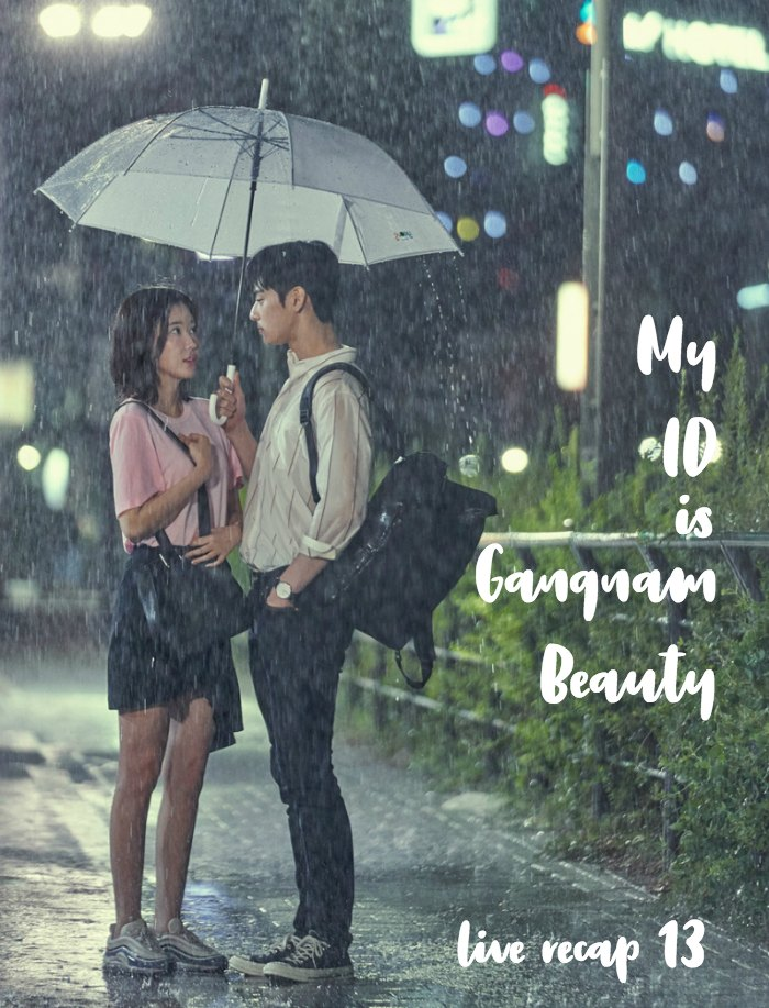 The two people standing under an umbrella in the rain and looking at each other in the Korean Drama My ID is Gangnam Beauty