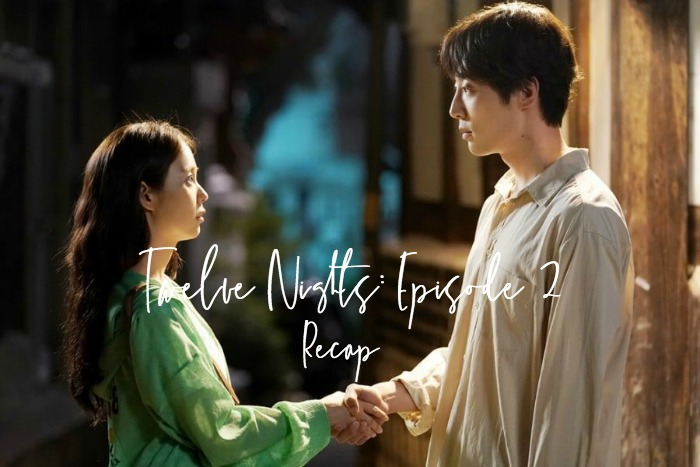 Man and woman shaking hands in Twelve Nights Kdrama Recap Episode 2