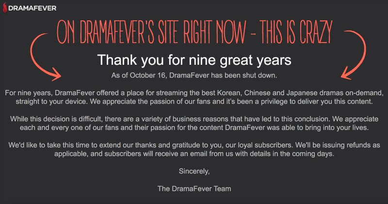 Dramafever is Closed