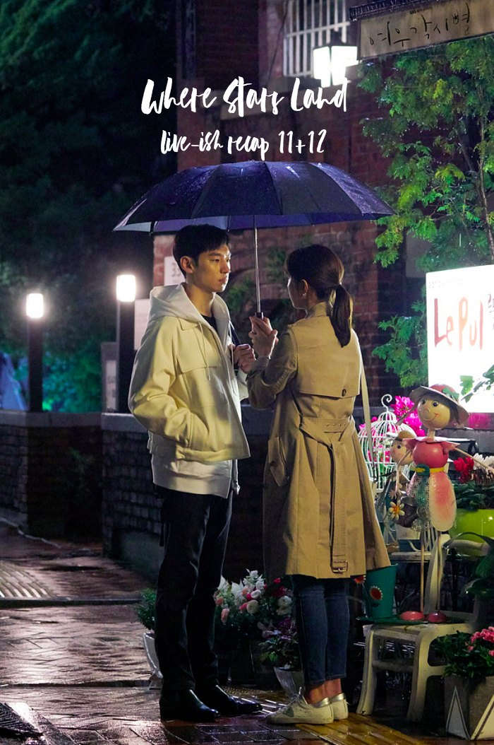 Lee Je-Hoon looks at Chae Soo-Bin in the rain in Where Stars Land