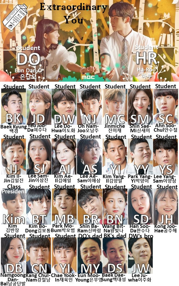 Kdrama Extraordinary You character chart