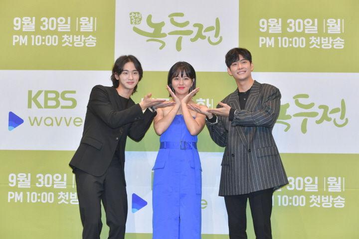Jang Dong-yoon, Kim So-hyun, Kang Tae-oh at the press conference for The Tale of Nokdu