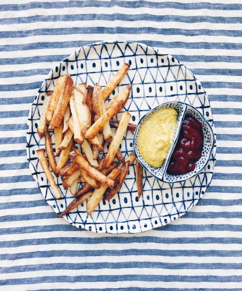 French Fries and dip with striped blue table cloth