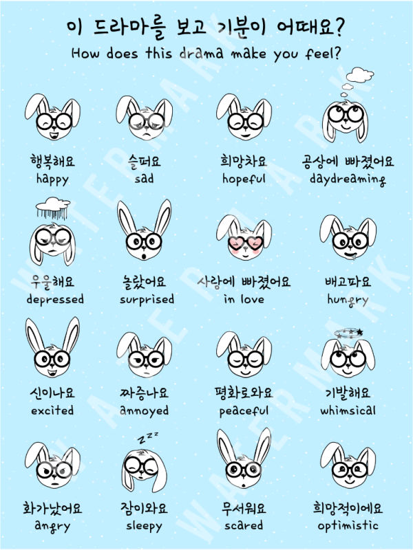 Korean Hangul Emotions Poster